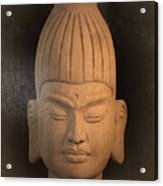 antique oil effect Buddha Burmese Acrylic Print