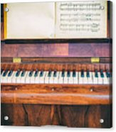 Antique Piano And Music Sheet Acrylic Print