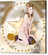 Antique Pin-up Girl On Missile. Bombshell Blond Acrylic Print