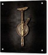 Antique Shoulder Drill Backside On Black Acrylic Print