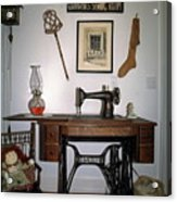 antique Singer sewing machine with treadle Acrylic Print