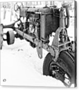 Antique Steel Wheel Tractor Black And White Acrylic Print
