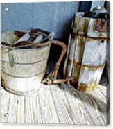 Antique Wooden Buckets Acrylic Print