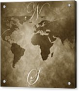 Antique World Map Acrylic Print