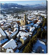 Apiro Italy In The Snow - Aerial Image. Acrylic Print