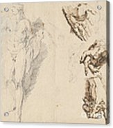 Apollo And Studies Of The Artist's Own Hand [recto] Acrylic Print