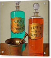 Apothecary Bottles And Brass Pestle And Mortar Acrylic Print