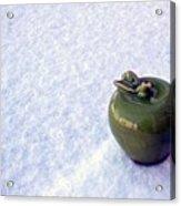 Apple On Snow Acrylic Print