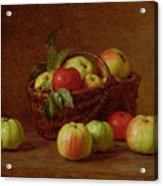 Apples In A Basket And On A Table Acrylic Print by Ignace Henri Jean Fantin-Latour