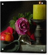 Apples Rose And Candlestick On Tray Stl712923 Acrylic Print