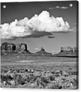 Approaching Monument Valley Black And White Acrylic Print