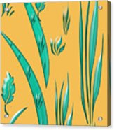 Aqua Design On Gold Acrylic Print