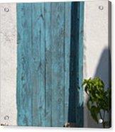 Aqua Door Textures Acrylic Print