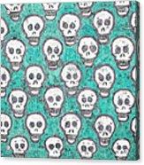 Aqua Skull Pattern Acrylic Print