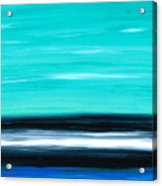 Aqua Sky - Bold Abstract Landscape Art Acrylic Print by Sharon Cummings