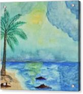 Aqua Sky Ocean Scene Acrylic Print