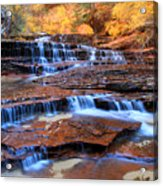 Archangel Falls In Zion National Park Acrylic Print by Pierre Leclerc Photography