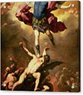 Archangel Michael Overthrows The Rebel Angel Acrylic Print by Luca Giordano