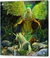 Archangel Raphael Protector Of Unicorns Acrylic Print