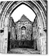 Athassel Priory Tipperary Ireland Medieval Ruins Decorative Arched Doorway Into Great Hall Bw Acrylic Print