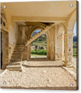 Arches, Entrance And Stairs Of Derelict Agios Georgios Church Acrylic Print