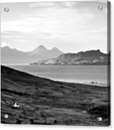 Ardnamurchan Landscape Toward The Islands Of Eigg And Rhum.    Black And White Acrylic Print