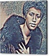 Aretha Franklin Abstract Art Acrylic Print