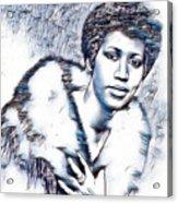 Aretha Franklin Portrait In Blue Acrylic Print