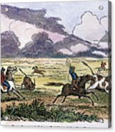 Argentina: Gauchos, 1853. Gauchos Catching Cattle On The Argentine Pampas. Wood Engraving, American, 1853 Acrylic Print