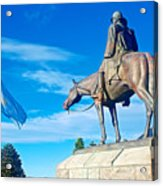 Argentinian Flag And Julio Roca-1843 To 1914-sculpture In Central Park In Bariloche-argentina  Acrylic Print