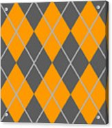 Argyle Diamond With Crisscross Lines In Pewter Gray T03-p0126 Acrylic Print