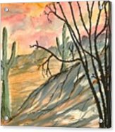 Arizona Evening Southwestern Landscape Painting Poster Print  Acrylic Print