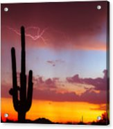 Arizona Lightning Sunset Acrylic Print