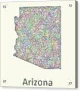 Arizona Line Art Map Acrylic Print