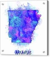 Arkansas Map Watercolor 2 Acrylic Print