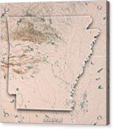 Arkansas State Usa 3d Render Topographic Map Neutral Border Acrylic Print