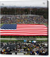 Army An American Flag Spans Michie Stadium Acrylic Print by Associated Press