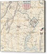 Army Map Of Seat Of War In Virginia 1862 Acrylic Print