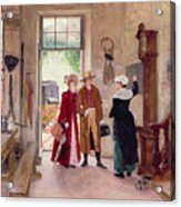Arrival At The Inn Acrylic Print by Charles Edouard Delort