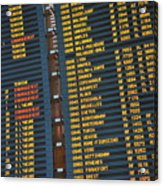 Arrival Board At Paris Charles De Gaulle International Airport Acrylic Print by Sami Sarkis