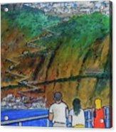 Arriving  At Thira Santorini Greece Acrylic Print