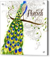 Art Nouveau Peacock W Swirl Tree Branch And Scrolls Acrylic Print