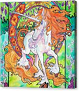 Art Nuevo Unicorn Acrylic Print by Jenn Cunningham