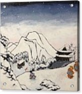 Art Of Buddhism And Shintoism And Two Paths In The Snow Acrylic Print