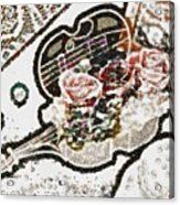 Art Violin And Roses Pearlesqued In Fragments  Acrylic Print