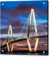 Arthur Ravenel Bridge At Night Acrylic Print
