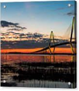 Arthur Ravenel Bridge Twilight Acrylic Print