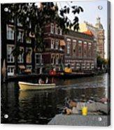 Artist On Amsterdam Canal Acrylic Print