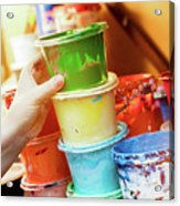 Artist Reaching For A Liquid Paint Container. Acrylic Print