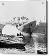 Asahel Curtis, 1874-1941, Launching Of The Minnie A. Cain Acrylic Print